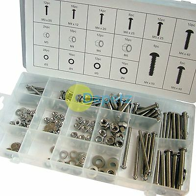 224 pc Stainless steel nuts and bolts M3 M4 M5 M6 bo