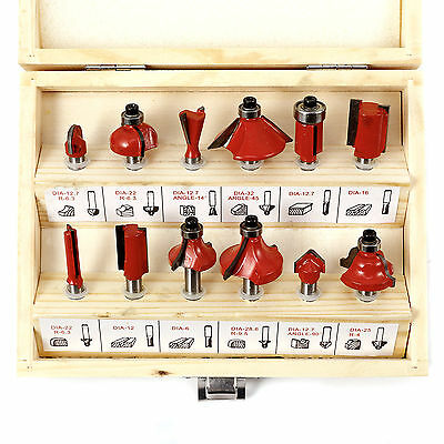 """12pc 1/4"""" (6.35mm) Router Bits in Wooden Case Bit Woodworking Tool Set TCT New"""