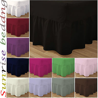 Plain Dyed Fitted Valance Sheet Poly/Cotton Bed Sheet Single Double & King Sizes