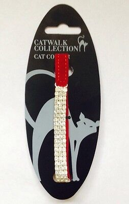 Rosewood Catwalk Collection Cat Collar ~ Diamante Red Faux Suede ~ VERY STYLISH!