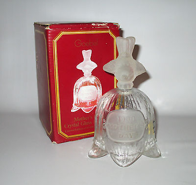 Goebel Mother's Day Crystal Glass Bell 1980 Frosted Bird Handle Boxed + Label