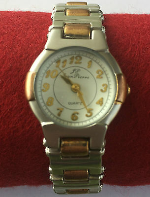 Near New Quartz Jean Pierre Ladies Silver/Gold plated Watch Stainless Steel  #M