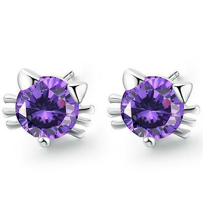 Women's Elegant 925 Sterling Silver Amethyst Ear Stud Earrings Costume Jewelry