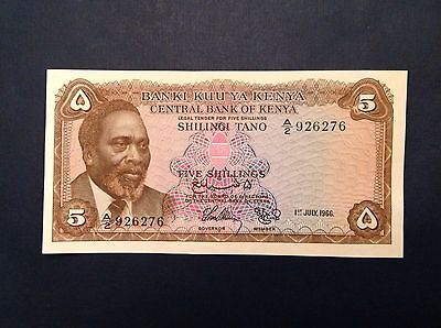 - 1966 Kenya  Five 5 Shillings Uncirculated P # 1