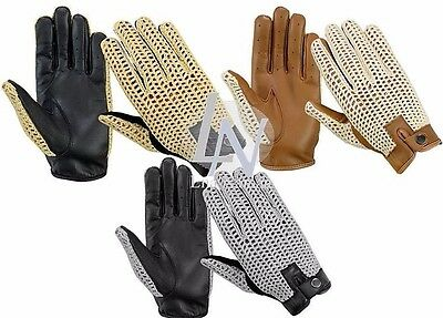 Classic Mens Driving Vintage Fashion Gloves Quality Soft Genuine Leather Retro
