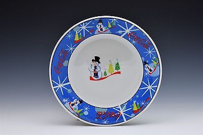 Coca Cola Laughing Snowman Dish Holiday Winter Bread Appetizer Dessert Plate 7""