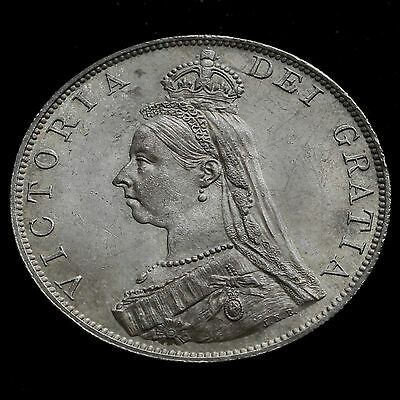 1887 Queen Victoria Jubilee Head Double Florin – Roman One – UNC