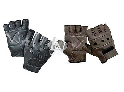 Real Leather Fingerless Biker Punk Goth Driving Cycling Gym Gloves Brown Black