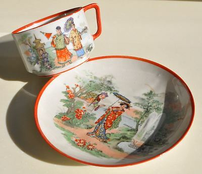 1890s Imperial Russia Rare Porcelain Pair  Tea Set CHINESE MOTIVES by KUZNETSOV