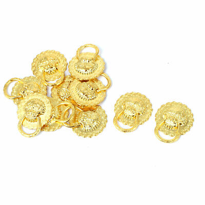 Suitcase Wardrobe Drawer Decotaive Lion Head Ring Pull Handle Gold Tone 10pcs