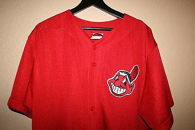 RARE Vintage Majestic Alternate Cleveland Indians Red Yellow Stripes Jersey 2XL