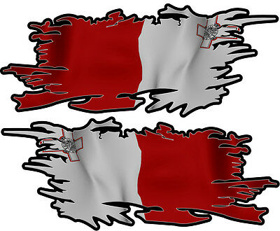 Malta Maltese Ripped Flag Left & Right 100Mm By 40Mm Gloss Laminated