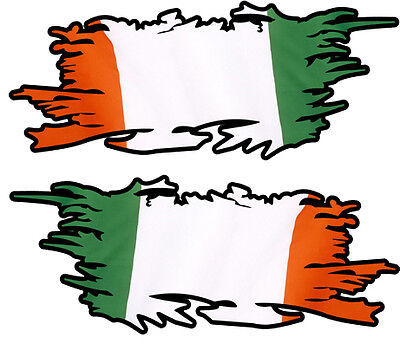 Irish Eire Ripped Flag Left & Right 100Mm By 40Mm Gloss Laminated