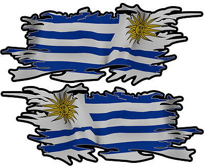 Uruguay Ripped Flag Left & Right 100Mm By 40Mm Gloss Laminated