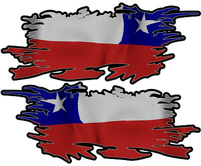 Chile Ripped Flag Left & Right 100Mm By 40Mm Gloss Laminated