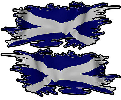 Scottland Scottish Ripped Flag Left & Right 100Mm By 40Mm Gloss Laminated