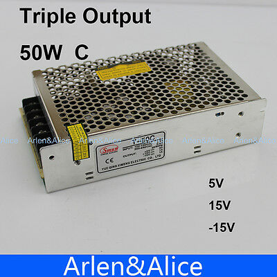 50W C Triple output 5V 15V -15V Switching power supply smps AC to DC