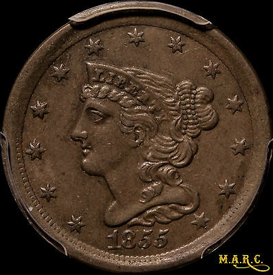 1855 AU55 Braided Hair Half Cent, PCGS, Nice Color, Free Shipping, MARC