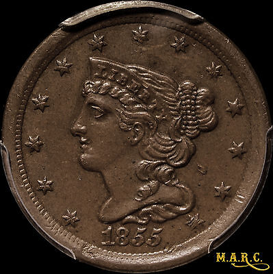 1855 AU55 Braided Hair Half Cent, PCGS secure, great color, Free Shipping, MARC