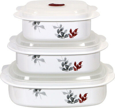 Corelle Kyoto Leaves Microwave Set w/ Adjustable Lid Set of 3 Cookware
