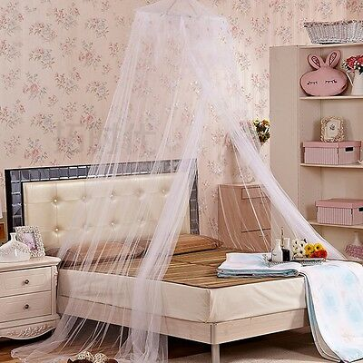 White Pink Round Lace Curtain Dome Princess Mosquito Net Bed Canopy Netting