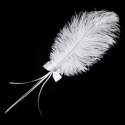 Trendy Wedding Bridal Ostrich Feather Quill Guest Signing Pen Diamante Bowknot