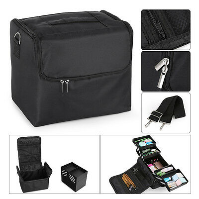 Large Makeup Train Case Cosmetic Nail Tech Jewellery Box Bag Case Shoulder Strap