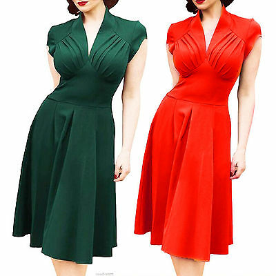 Womens Vintage Style Retro 1940s Rockabilly Evening Swing Skaters Tea Dresses