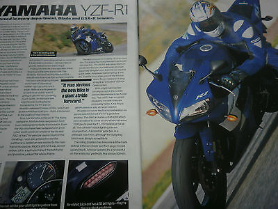 "Yamaha Yzf-R1 # 3 Page ""first Ride"" Original Vintage Motorcycle Article"