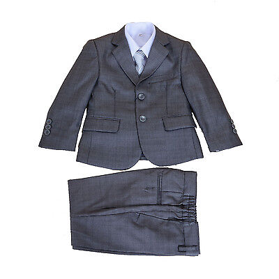 New Grey 5 Piece Boy Suits Boys Wedding Suit Page Boy Party Prom 2-12 Years