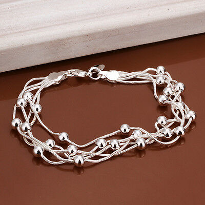 Wholesale 925 sterling silver filled bracelet 5 wire beads chain Fashion jewelry