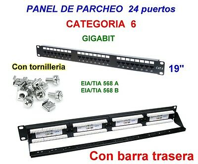 "Panel de parcheo Categoria 6, 24 puertos, 19"" . Patch panel 24p"