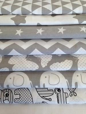NEW GREY & WHITE 100% COTTON FABRIC by the metre CHEVRON polka dot , elephant