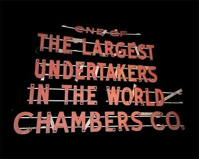 Massive Advertising Neon Sign Chambers Co. Undertakers Washington DC Funeral