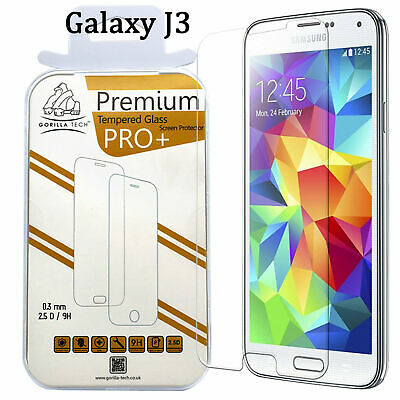 Samsung Galaxy J3 2016 Gorilla Tech Tempered Glass Screen Protector Cover Shield