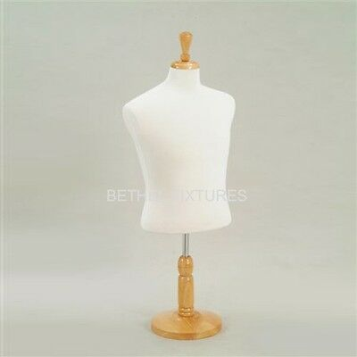 Male Counter Top Cream Jersey Dress Form/ Half Form Mannequin