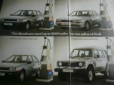 "MITSUBISHI 1985 RANGE # ORIGINAL VINTAGE AUTOMOTIVE ADVERT # 11""x 16"""