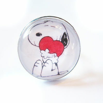 Snoopy Love Glass Bubble Silver Plated Adjustable Ring