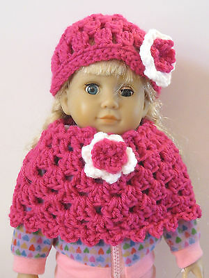 Hand Crocheted American Girl Doll Clothes Hot Pink Cape & Hat Set