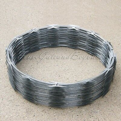 "Razor / Helical Barbed Wire Galvanized Steel 18"" 1 Coil 50 Feet Coverage"