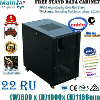 "22RU 22U 19"" 19 inch 1000mm SERVER CABINET DATA RACK 4 FANS 7way PDU Fo Network"