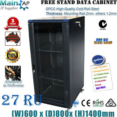 "27RU 27U 19"" 19 inch 800mm deep SERVER CABINET NETWORK DATA RACK 4 FANS 7WAY PDU"