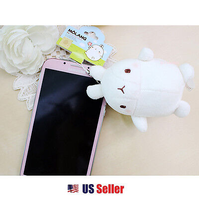 "Molang Cute Rabbit Bunny Anti Dust 3"" Plush Cellphone Charm Accessory"