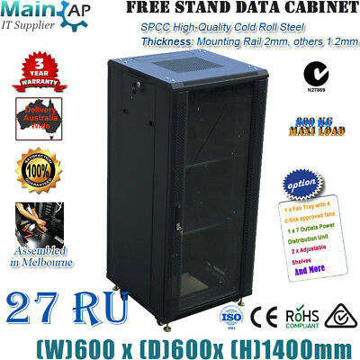 """27U 27RU 19"""" 19 inch 600mmX600mm deep SERVER CABINET DATA RACK comes with 4 FANS"""
