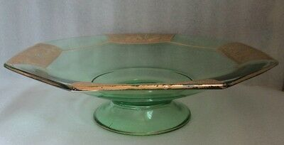 Must See! Moser Style Depression Green Gold Gilt Cameo Etched Glass Console Bowl