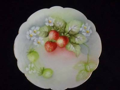 """Vintage Limoges France 8 1/2"""" Plate with Hand Painted Strawberries and Blossoms"""