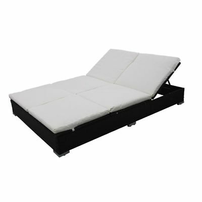 New Outdoor Furniture Double Rattan Lounge Bed Lounge Chair with Cushions Black
