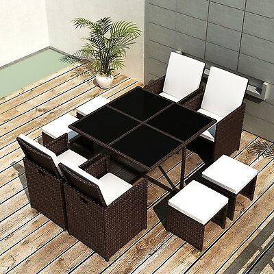 New Poly Rattan Furniture Set Dining Set Cushion 1 Table 4 Chairs 4 Stools Brown