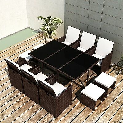 New Poly Rattan Furniture Set Dining Set Cushion 1 Table 6 Chairs 4 Stools Brown