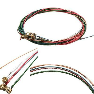 6pcs 1Set Stainless Steel Rainbow Color String For Acoustic Guitar Accessory